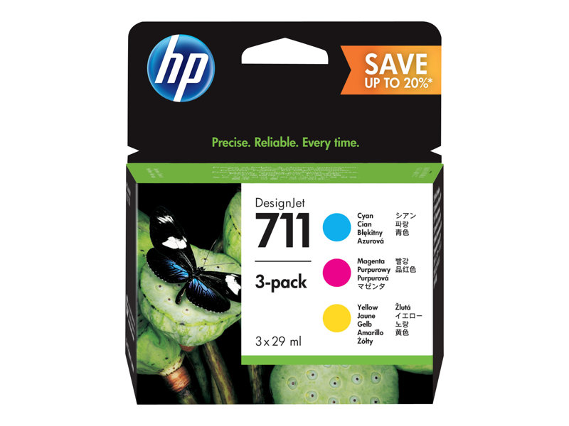 HP 711 ink. náplň - 3-pack Cyan, Mag. Yellow