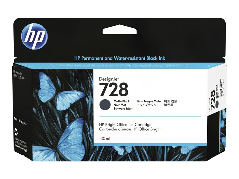 HP 728 130-ml Matte Black DesignJet Ink
